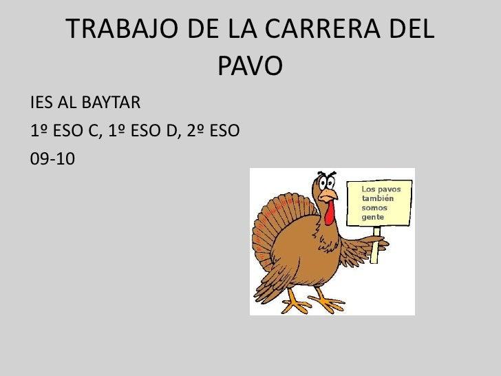 TRABAJO DE LA CARRERA DEL               PAVO IES AL BAYTAR 1º ESO C, 1º ESO D, 2º ESO 09-10