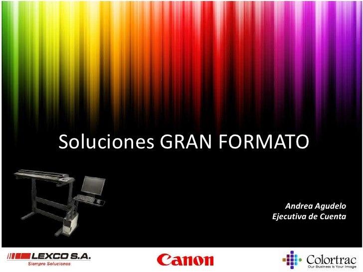 Soluciones GRAN FORMATO<br />Andrea Agudelo<br />Ejecutiva de Cuenta<br />