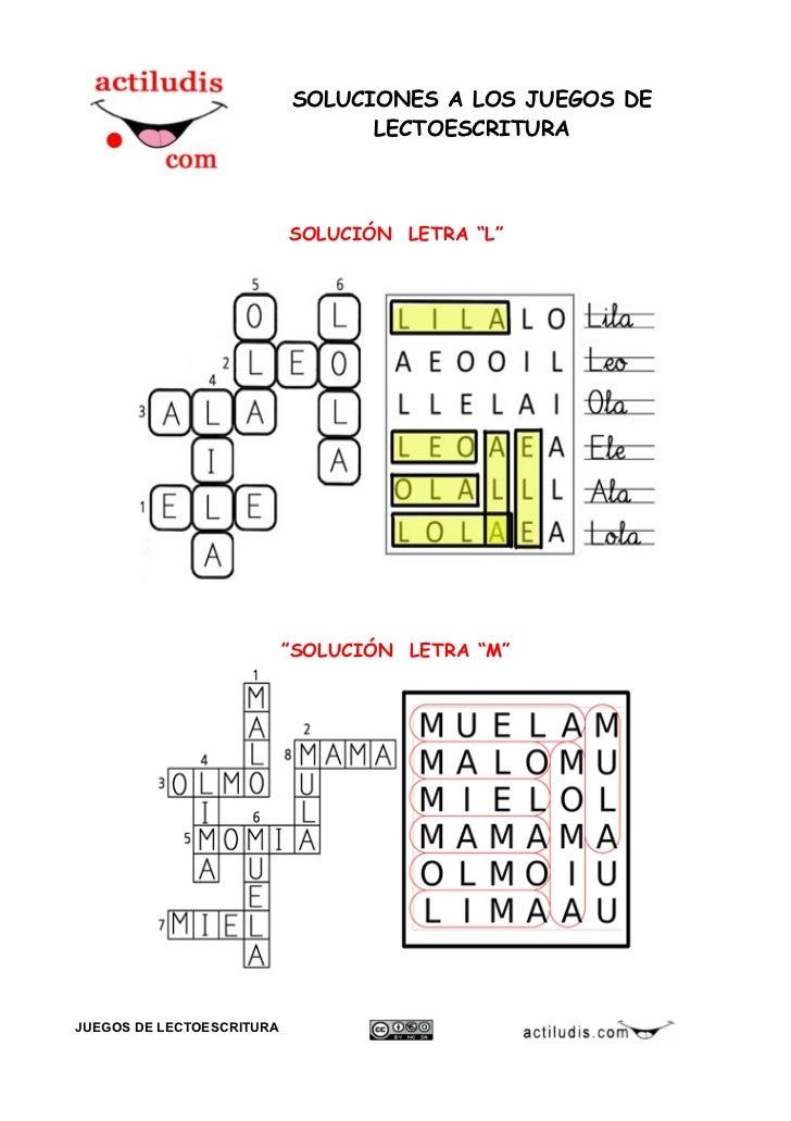 Soluciones juegos lectoescritura