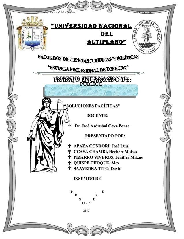 """Universidad Nacional del Altiplano                            E.P. Derecho              """" Universidad nacional            ..."""