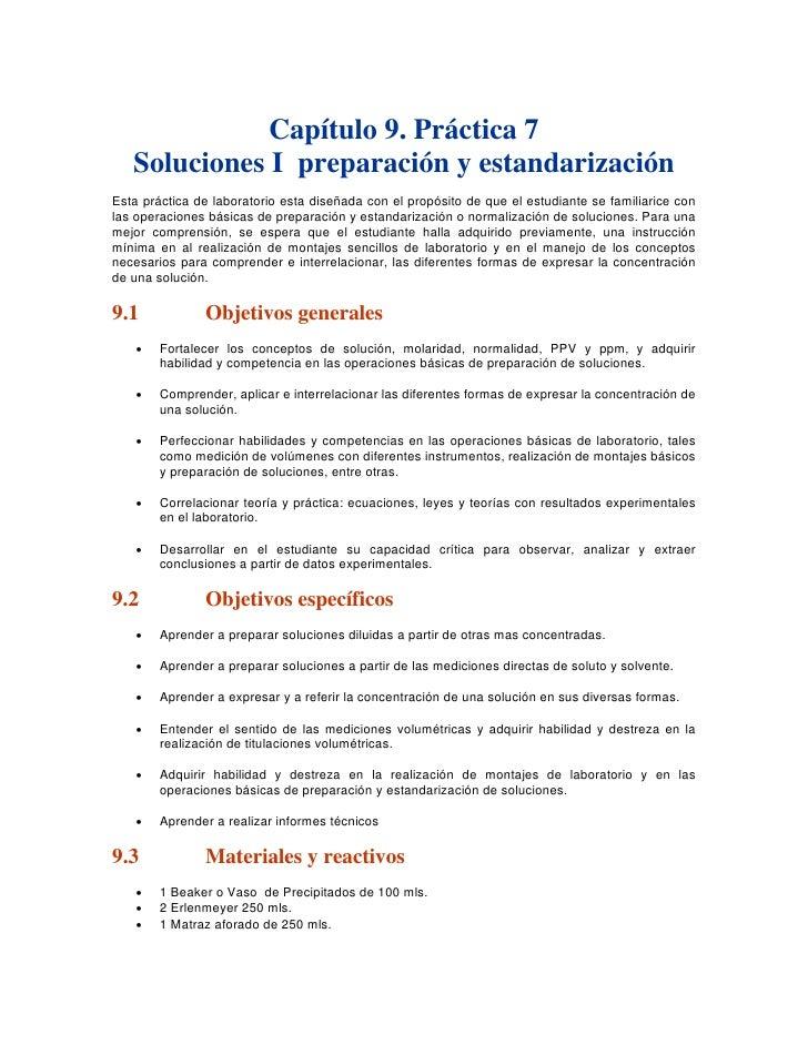 Capítulo 9. Práctica 7    Soluciones I preparación y estandarización Esta práctica de laboratorio esta diseñada con el pro...