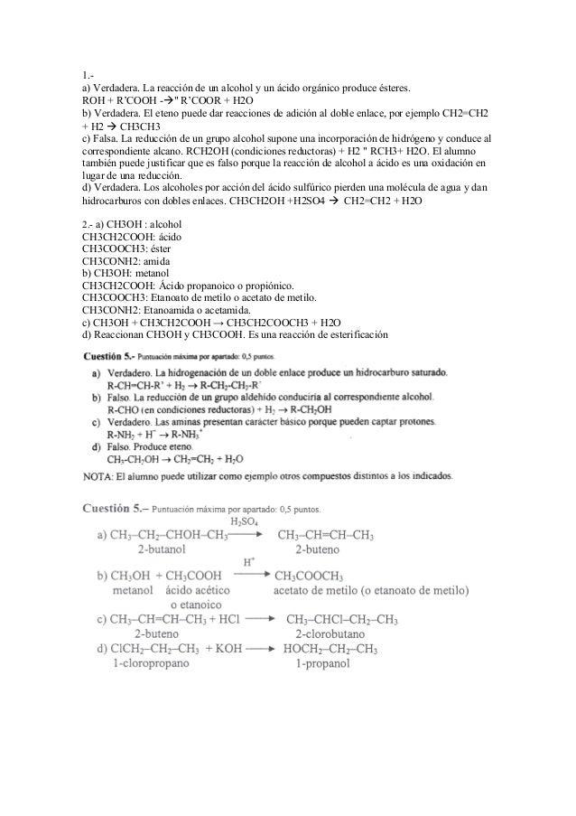 """1.- a) Verdadera. La reacción de un alcohol y un ácido orgánico produce ésteres. ROH + R'COOH -"""" R'COOR + H2O b) Verdader..."""