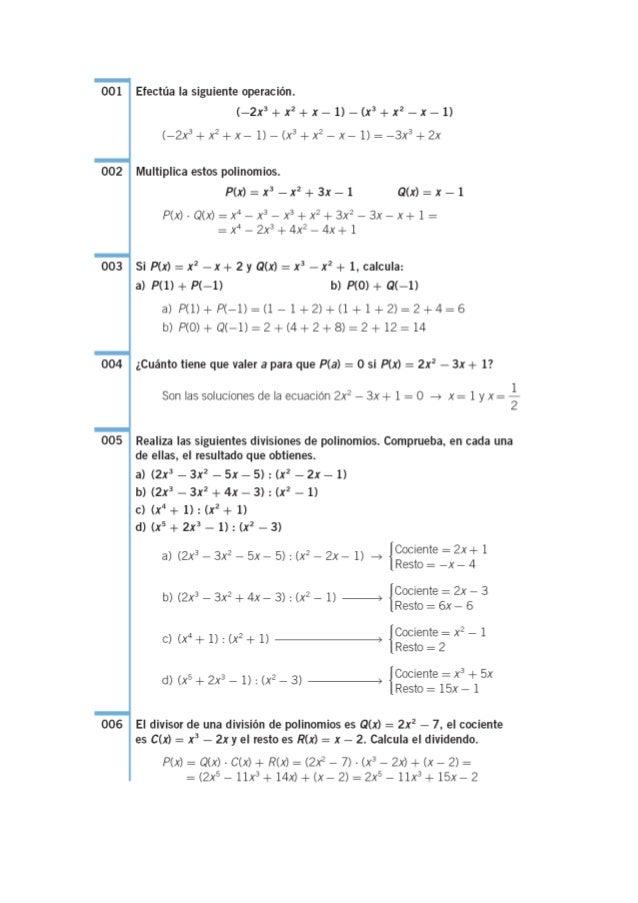 001 Efectúa la siguiente operación.  (—2x3+x2+x— 1) —(x3+x2 —x—1) (—2x3+ x2+x— 1) — (x3 +x2 — x— 1) =  —3x3 +2x 002 Multip...