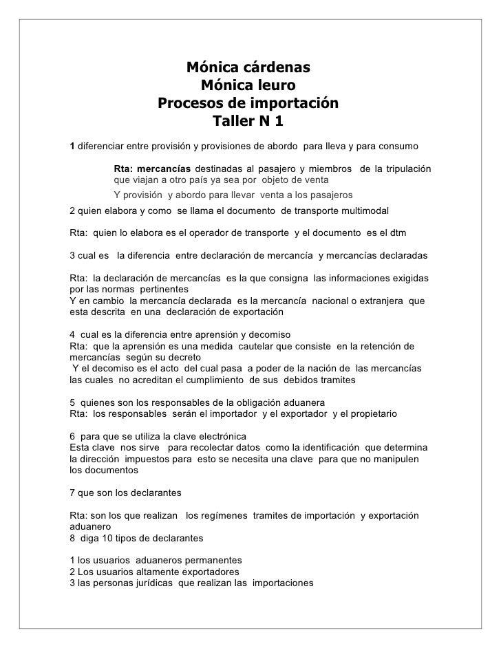 Mónica cárdenas                         Mónica leuro                    Procesos de importación                           ...