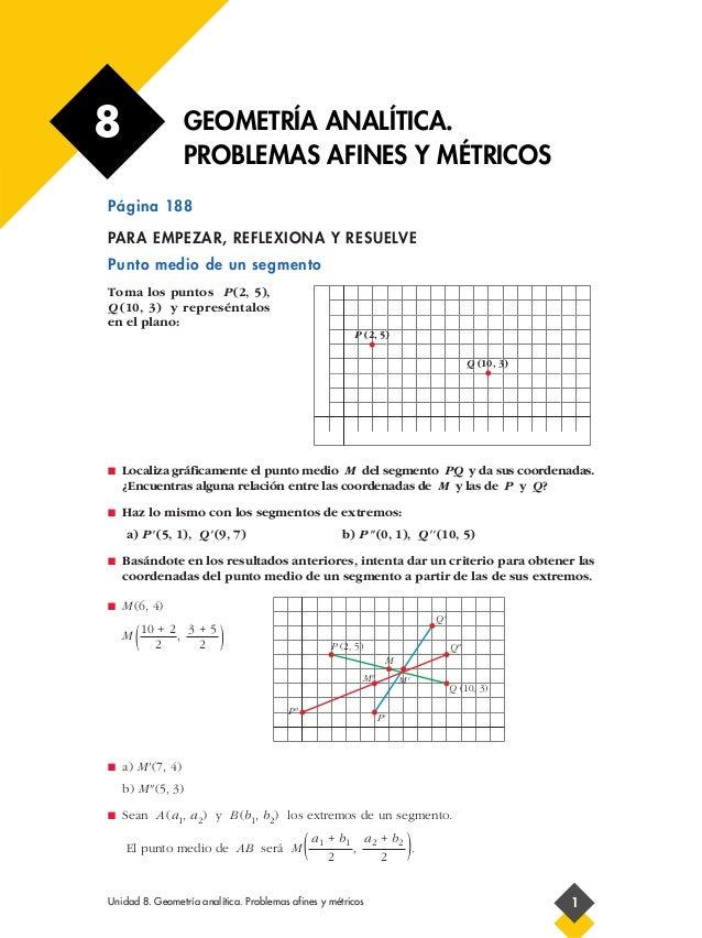 8                  GEOMETRÍA ANALÍTICA.                   PROBLEMAS AFINES Y MÉTRICOSPágina 188                           ...