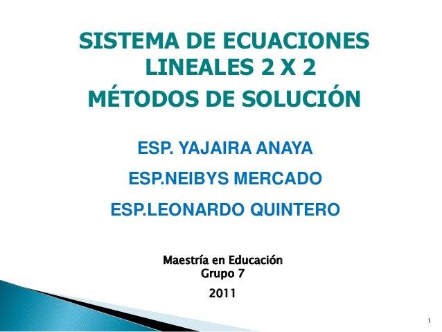 1 SISTEMA DE ECUACIONES LINEALES 2 X 2 MÉTODOS DE SOLUCIÓN ESP. YAJAIRA ANAYA ESP.NEIBYS MERCADO ESP.LEONARDO QUINTERO Mae...