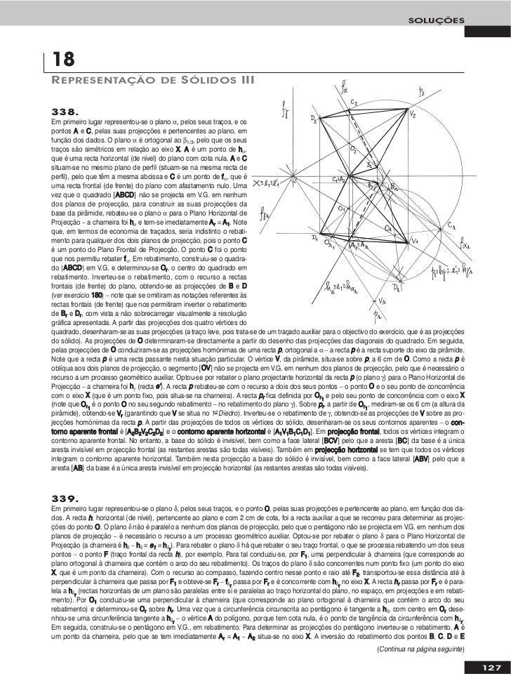 SOLUÇÕES18R EPRESENTAÇÃO DE S ÓLIDOS III338.Em primeiro lugar representou-se o plano α, pelos seus traços, e ospontos A e ...