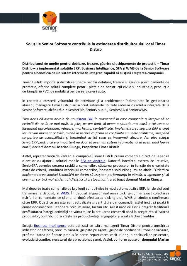 Solutiile Senior Software contribuie la extinderea distribuitorului local Timar Distrib