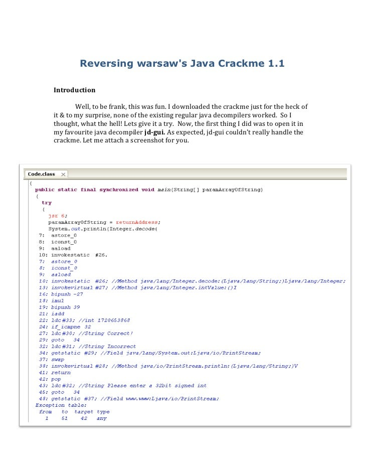 Solution to warsaw's crackme1.1