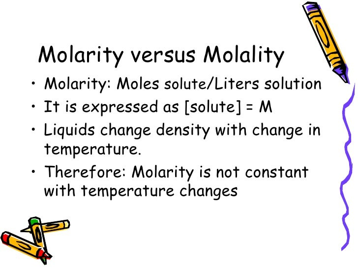 molarity vs molality measures concerning concentration How to calculate molarity molarity describes the relationship between moles of a solute and the volume of a solution  molarity is a measure and unit of concentration it is used to express concentration of a particular solution on the other hand, molar mass is a unit of mass  the above technique is very useful for all students with.