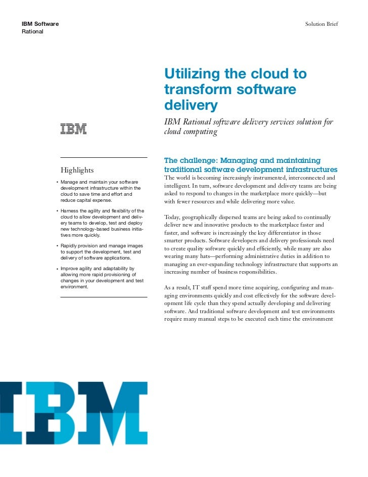 Solution brief   ibm rational software delivery services for cloud  computing