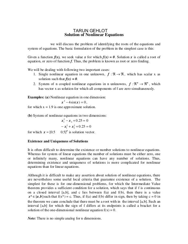 Lecture – 9                              TARUN GEHLOT                          Solution of Nonlinear EquationsIn this chap...