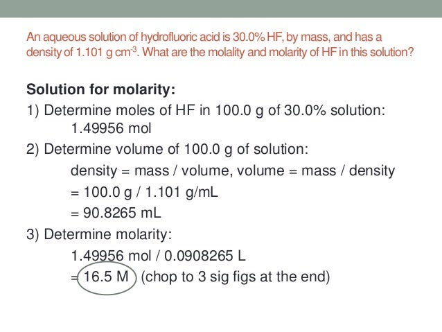 how to solve for molarity
