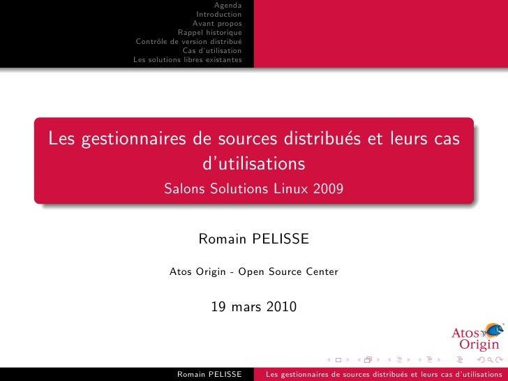Les gestionnaires de sources distribués et leurs cas d'utiliation - Solutions Linux 2009
