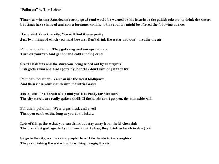 "<ul><li>"" Pollution "" by Tom Lehrer </li></ul><ul><li> </li></ul><ul><li>Time was when an American about to go abroad wou..."