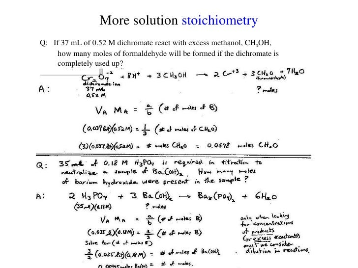 n3 solution stoichiometry and molar dilution Stoichiometry with solutions name _____ 1 h3po4 + 3 naoh -- na3po4 + 3 h2o how much 020 m h3po4 is needed to react with 100 ml of 010 m.