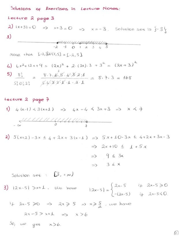 Solutions of exercises lectures 1 12