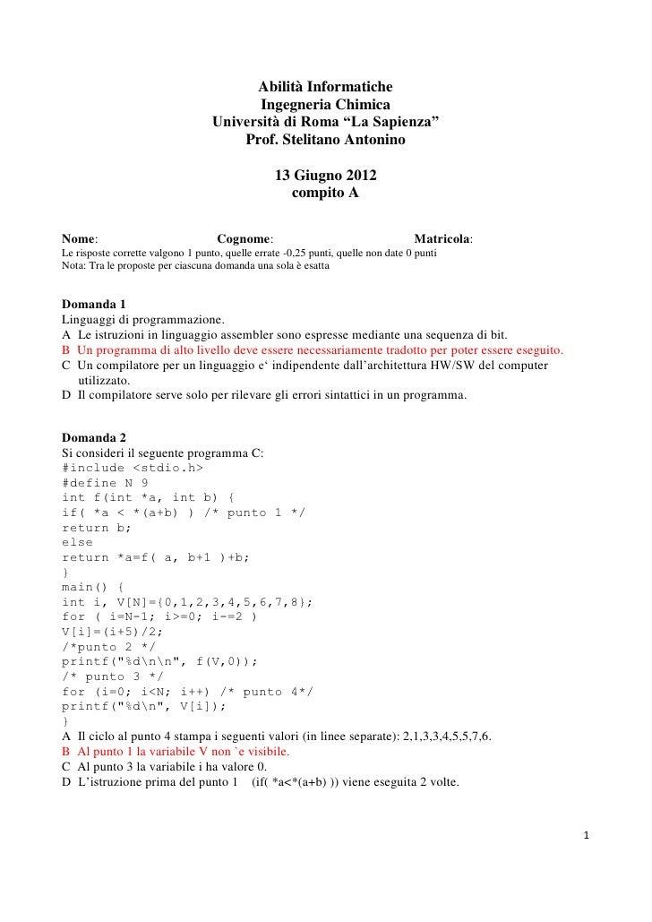 Abilità Informatiche                                          Ingegneria Chimica                                   Univers...
