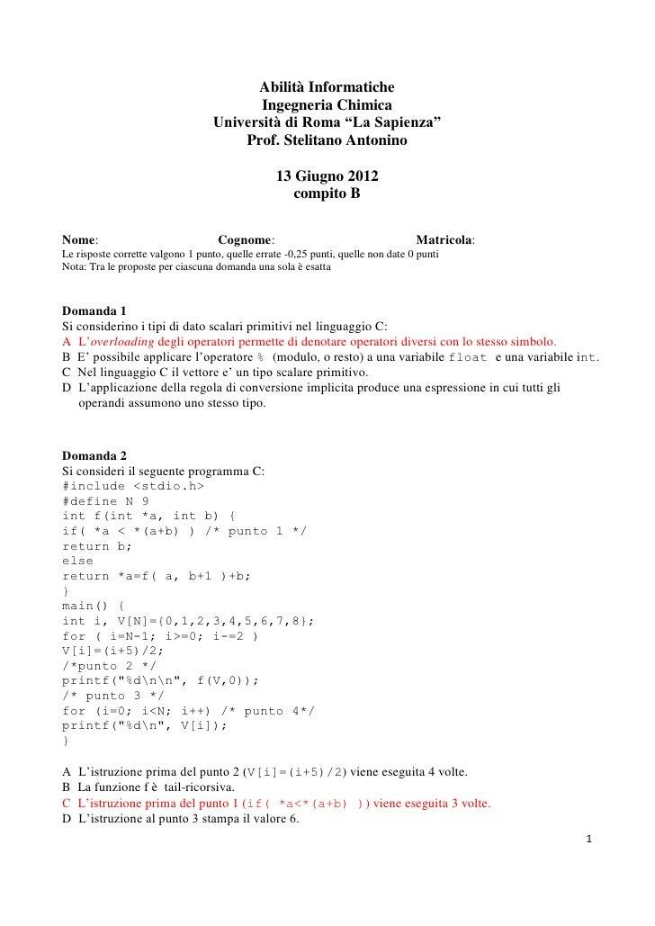 Soluzione esame b del 13 giugno 2012