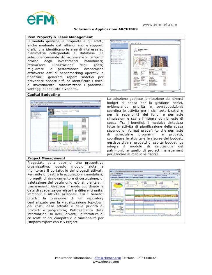 www.efmnet.com                              Soluzioni e Applicazioni ARCHIBUS  Real Property & Lease Management Il modulo ...