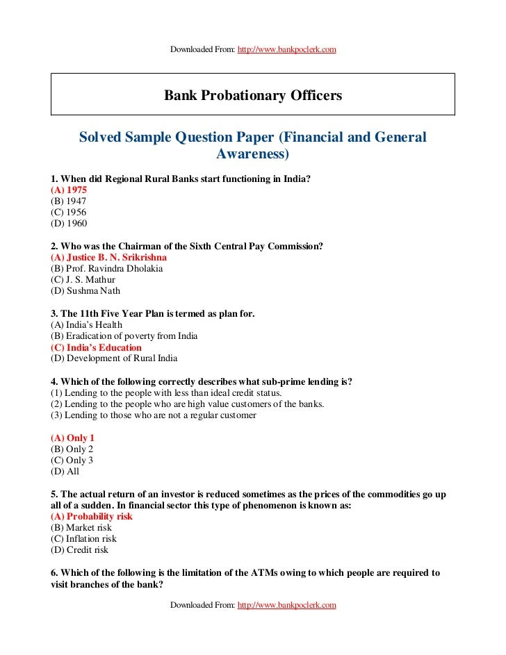 Downloaded From: http://www.bankpoclerk.com                           Bank Probationary Officers      Solved Sample Questi...