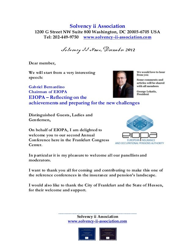 Solvency ii Association   1200 G Street NW Suite 800 Washington, DC 20005-6705 USA       Tel: 202-449-9750 www.solvency-ii...