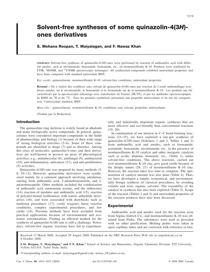 1019                 Solvent-free syntheses of some quinazolin-4(3H)-                 ones derivatives                 S. ...