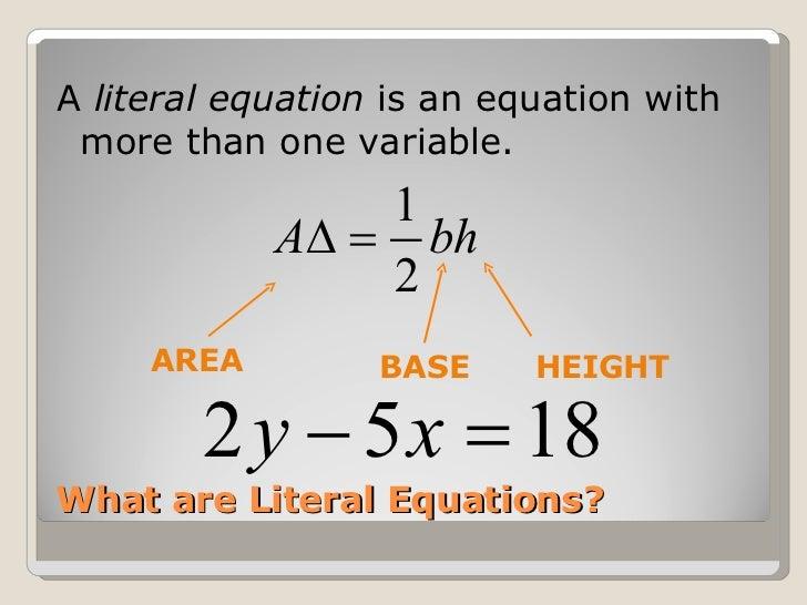 Literal equations worksheet 8th grade
