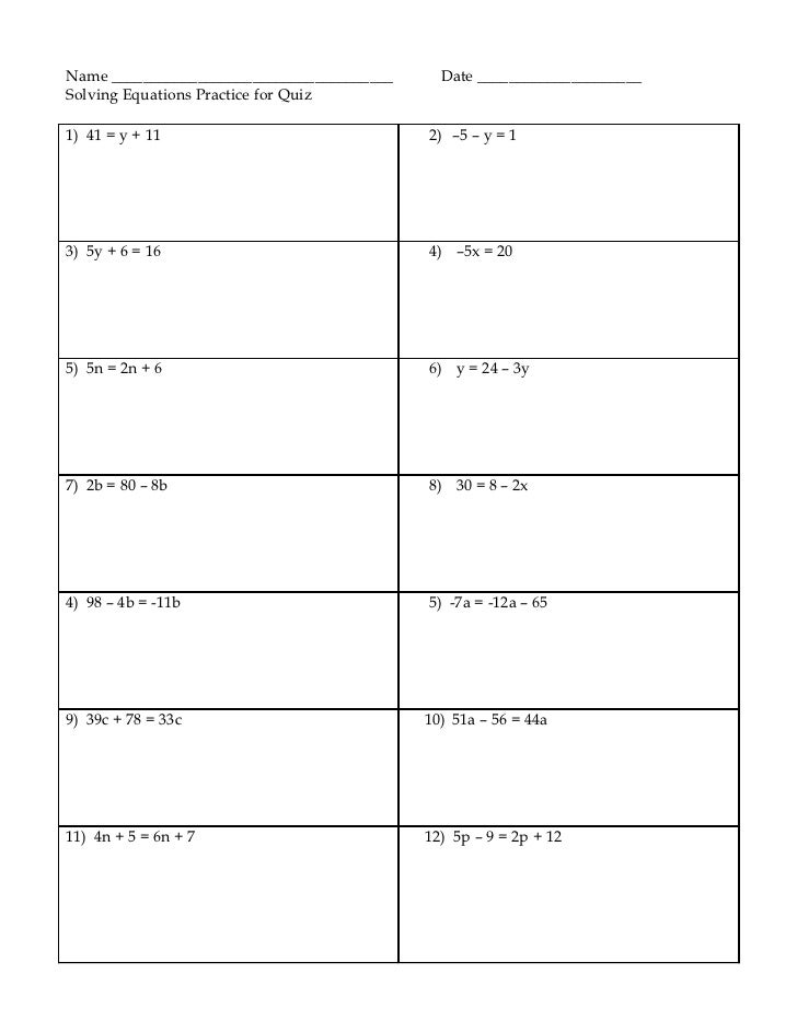 Solving equations Practice worksheet