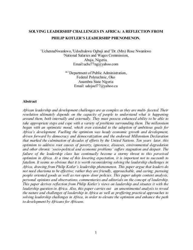 Solving leadership challenges in africa in philip kotler's leadership phenomenon
