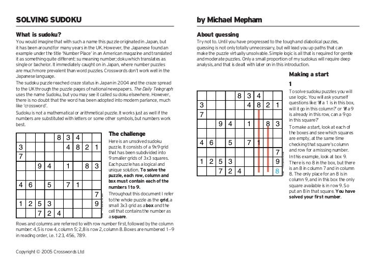 SOLVING SUDOKU                                                                       by Michael MephamWhat is sudoku?     ...