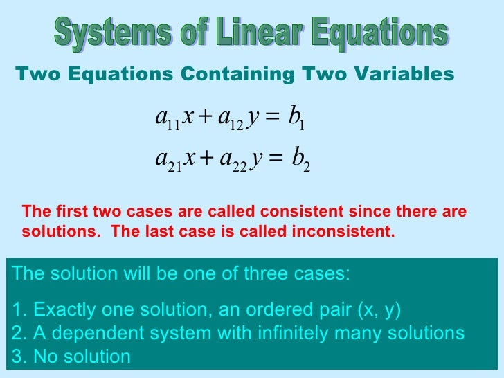 Systems of Linear Equations The solution will be one of three cases: 1. Exactly one solution, an ordered pair (x, y)  2. A...
