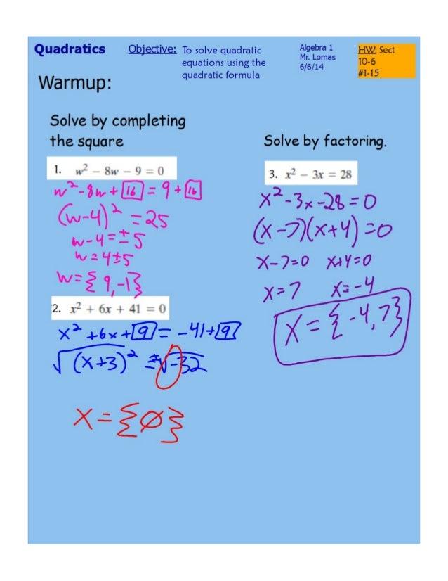 Solving using quadratic formula
