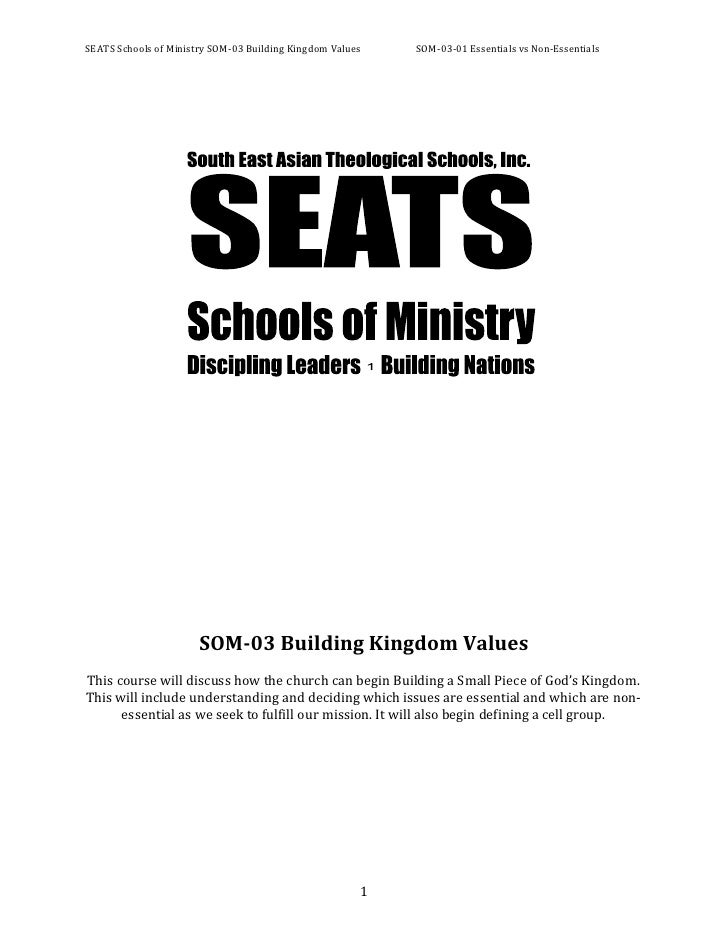 SOM-03 Building Kingdom Values<br />This course will discuss how the church can begin Building a Small Piece of God's King...