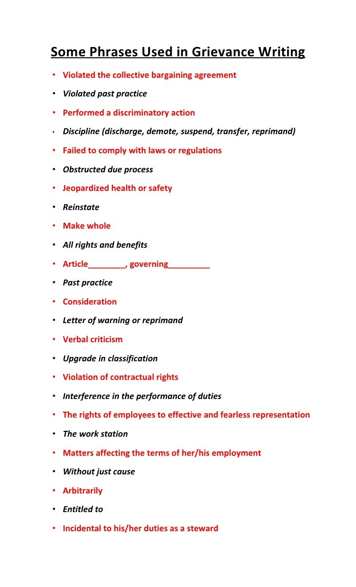 Some  Phrases  Used In  Grievance  Writing