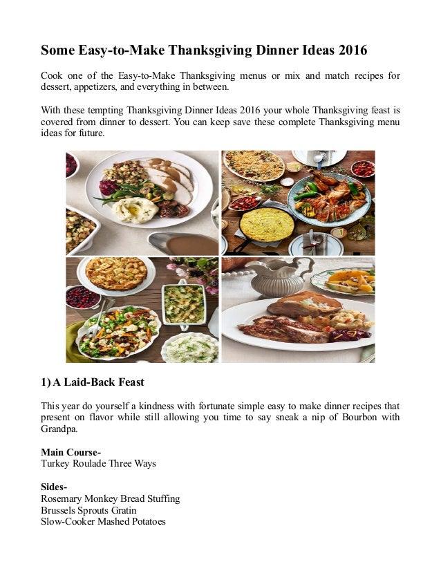 Some easy tomake thanksgiving dinner ideas 2016