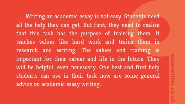 writing an academic essay • explains the academic essay as an academic style of writing • explains how to write an academic essay and • provides you with a quick checklist.