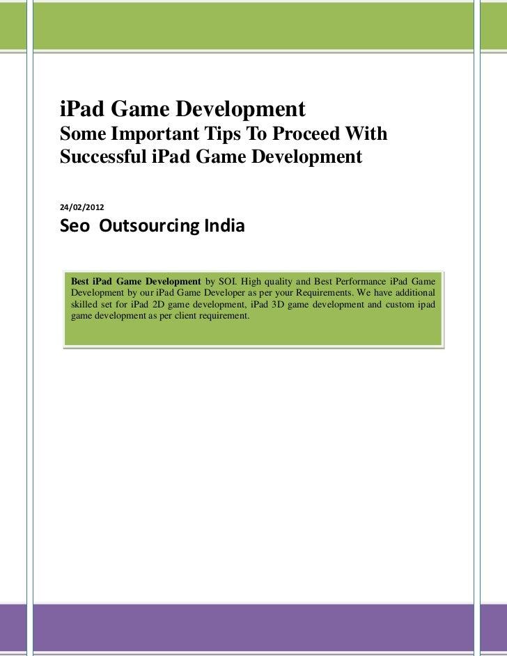 IPad Games Development