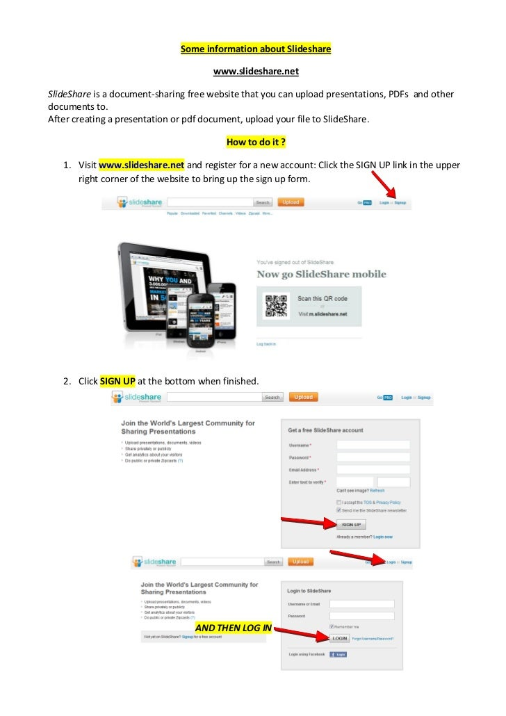 Some information about Slideshare                                      www.slideshare.netSlideShare is a document-sharing ...