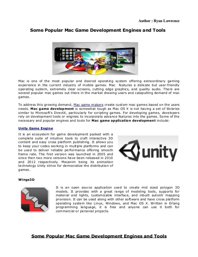 Some Popular Mac Game Development Engines and Tools