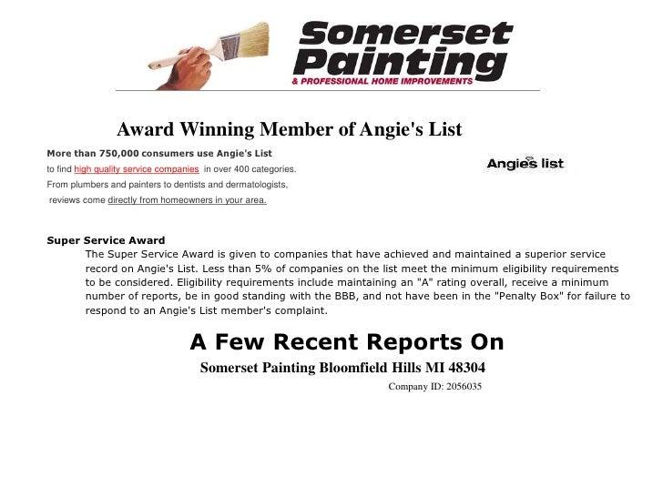 Somerset Painting Angies List Reports Thru November 2009 Show