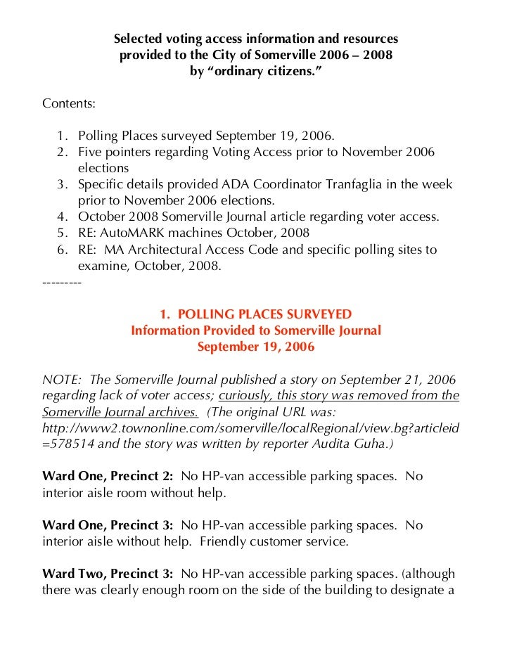 Selected voting access information and resources              provided to the City of Somerville 2006 – 2008              ...