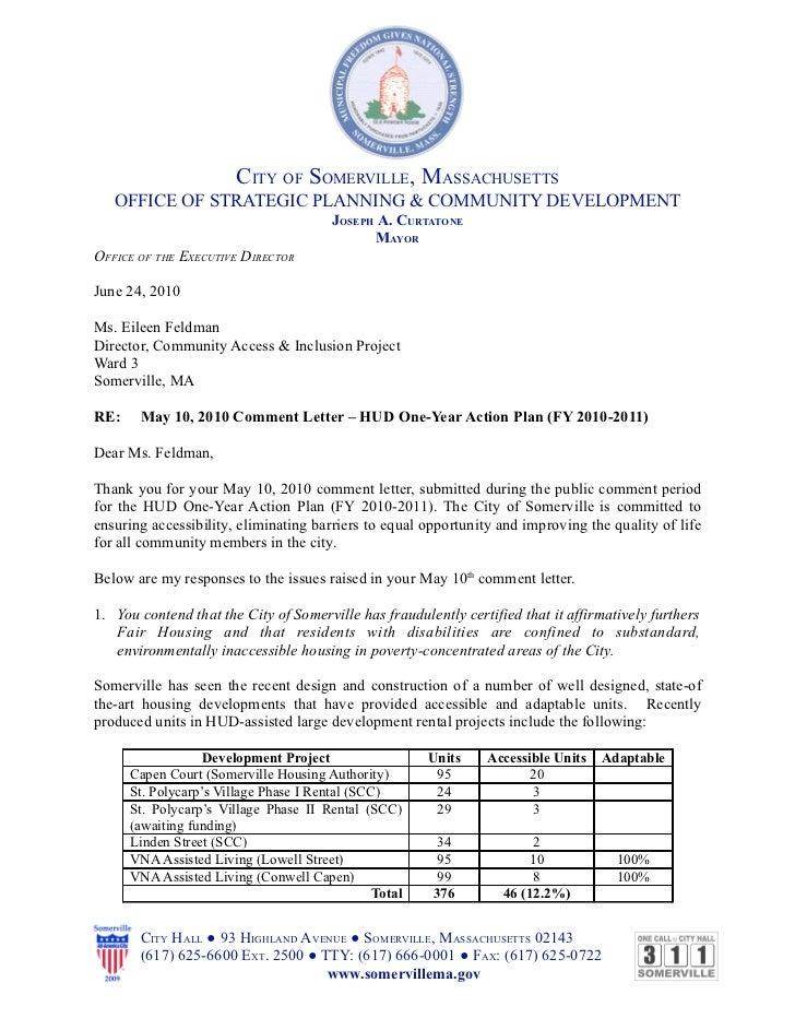 Somerville OSPCD response- CDBG 2010 complaint
