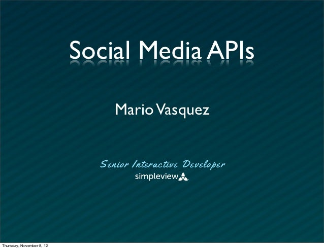 Working With Social APIs - SoMeT12