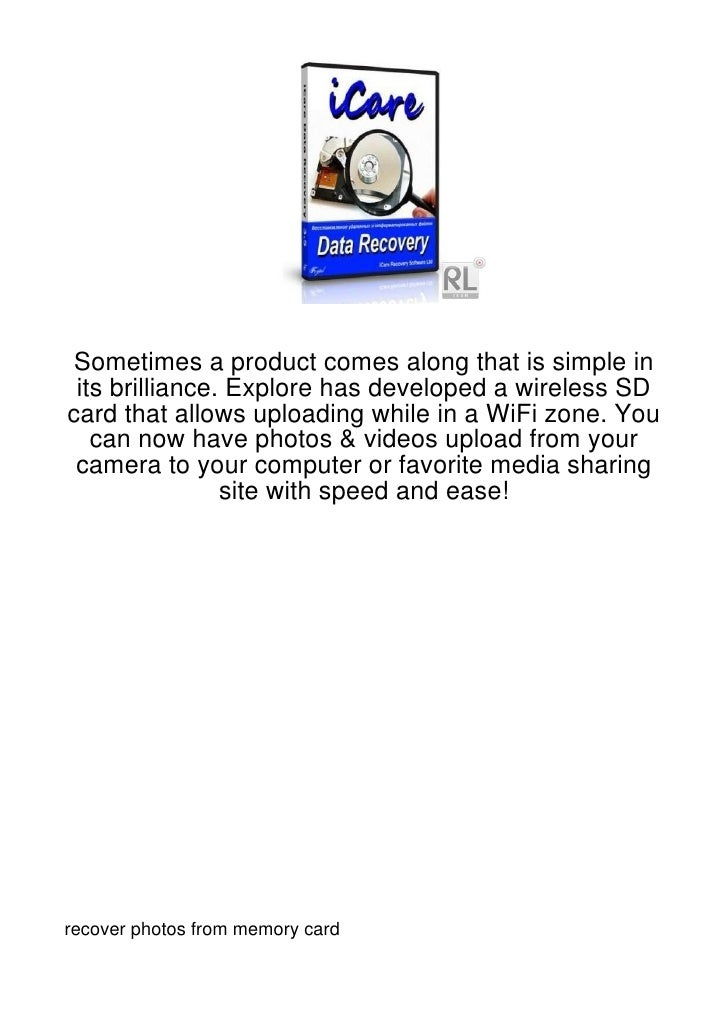 Sometimes a product comes along that is simple in its brilliance. Explore has developed a wireless SDcard that allows uplo...
