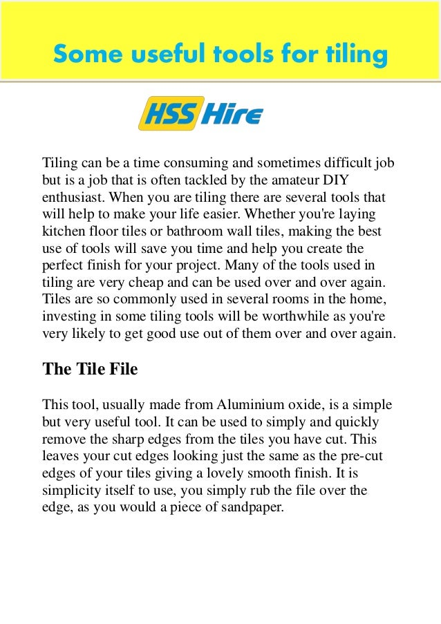 Some useful tools for tiling