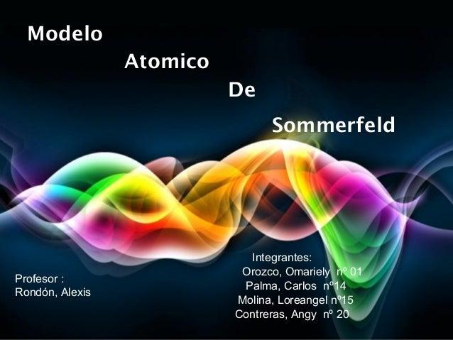Page 1ModeloIntegrantes:Profesor :Rondón, AlexisAtomicoDeSommerfeldOrozco, Omariely nº 01Palma, Carlos nº14Molina, Loreang...