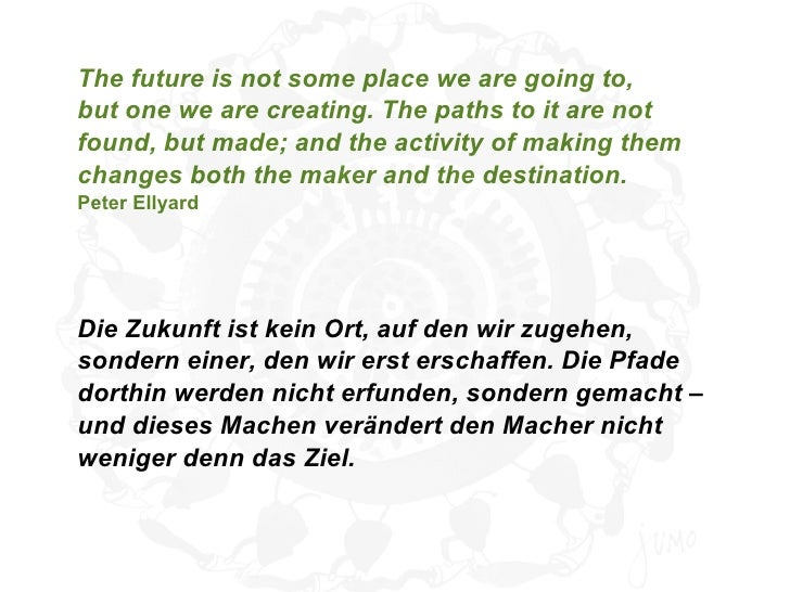 The future is not some place we are going to,but one we are creating. The paths to it are notfound, but made; and the acti...