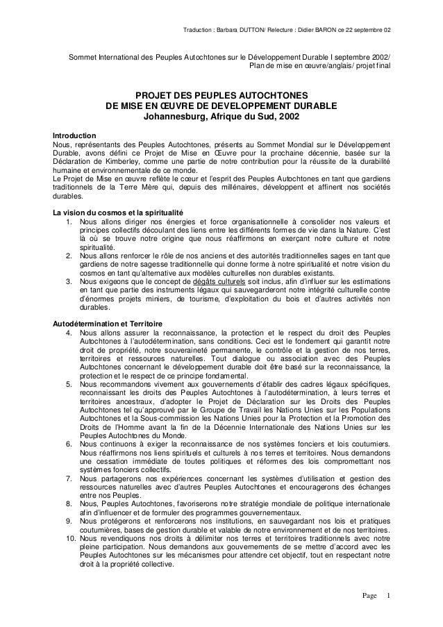 Traduction : Barbara DUTTON/ Relecture : Didier BARON ce 22 septembre 02Page 1Sommet International des Peuples Autochtones...