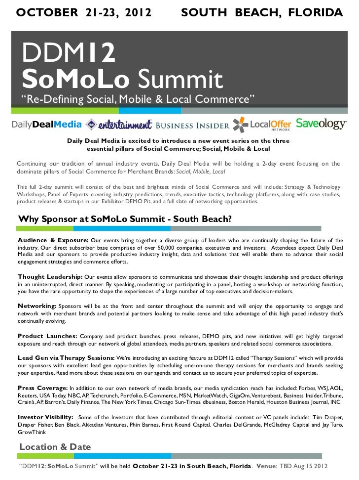 "OCTOBER 21-23, 2012                                                SOUTH BEACH, FLORIDA DDM12 SoMoLo Summit ""Re-Defining S..."